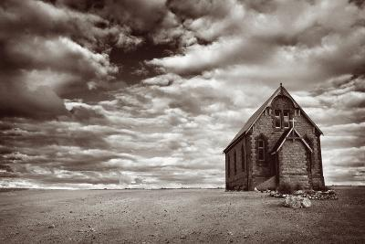 Abandoned Church in the Desert, with Stormy Skies-Robyn Mackenzie-Photographic Print