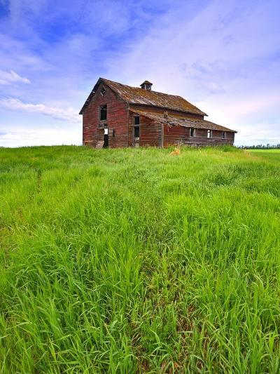 Abandoned red barn sitting on the top of a hill on a pioneer homestead in rural Alberta Canada-Robert McGouey-Photographic Print