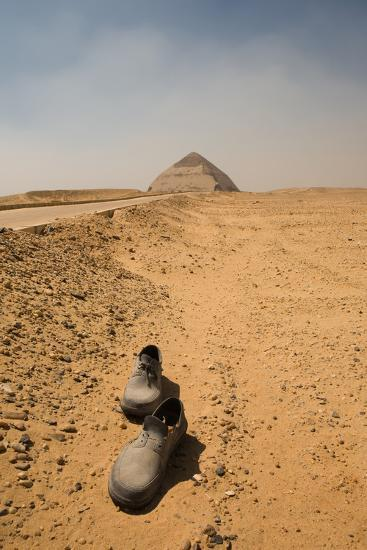 Abandoned Shoes on the Road to the Bent Pyramid-jgaunion-Photographic Print