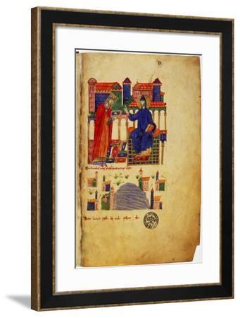 Abbot of Montecassino, of fers Saint Benedict a Manuscript--Framed Art Print