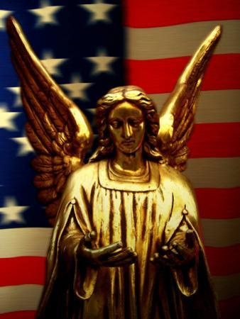 Angel with America Flag as the Background