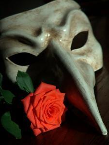 Still Life Photograph, a Traditional Venetian Mask with a Rose by Abdul Kadir Audah