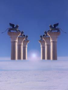Winged Lions on Columns Above the Clouds by Abdul Kadir Audah