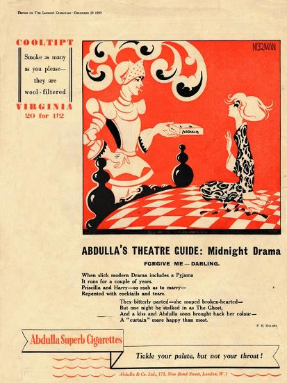 'Abdulla's Theatre Guide: Midnight Drama - Forgive Me - Darling', 1939-Unknown-Giclee Print