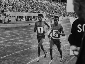 Abebe Bikila and Mamo Wolde in Exhibition Race at Berlin Olympic Stadium
