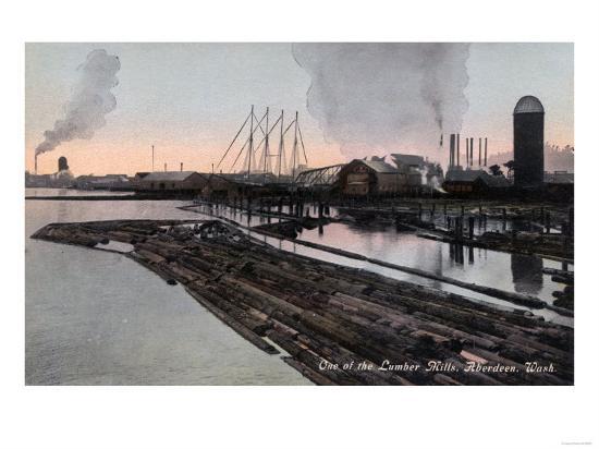 Aberdeen, Washington - View of a Lumber Mill-Lantern Press-Art Print