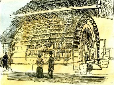 Aberdeen Water-Wheel at the Granholm Tweed Mills 1885, UK--Giclee Print