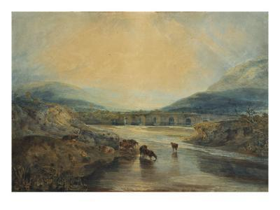Abergavenny Bridge, Monmouthshire: Clearing Up After a Showery Day, 19th Century-J^ M^ W^ Turner-Giclee Print