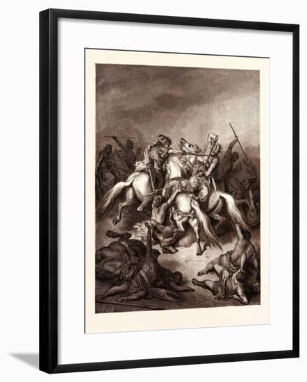 Abishai Saving the Life of David-Gustave Dore-Framed Giclee Print