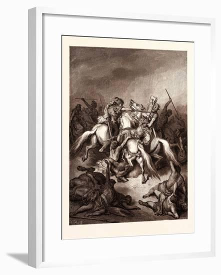 Abishai Saving the Life of David-Gustave Dore-Framed Giclee Print