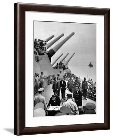 Aboard USS Missouri as Japanese Mamoru Shigemitsu Signs Official Surrender Documents Ending WWII-Carl Mydans-Framed Premium Photographic Print