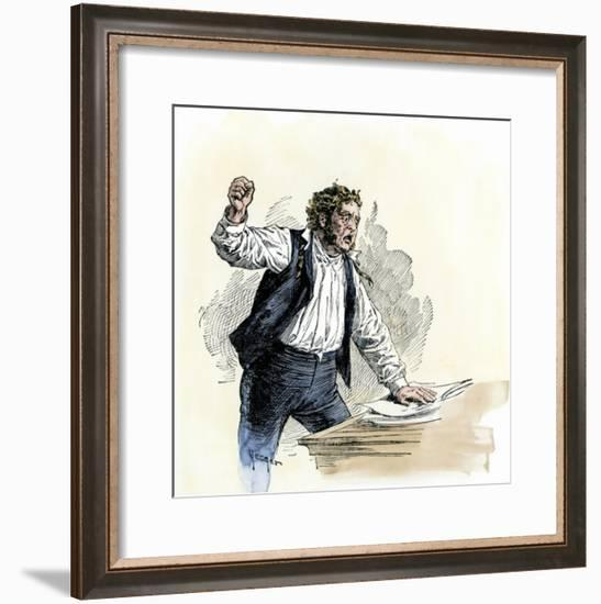 Abolitionist Elijah P. Lovejoy Denouncing Slave Owners before the Us Congress, 1830s--Framed Giclee Print