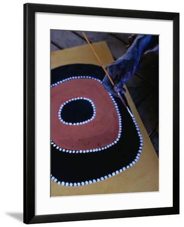 Aboriginal Artist Painting, Kimberley, Western Australia, Australia-Richard I'Anson-Framed Photographic Print