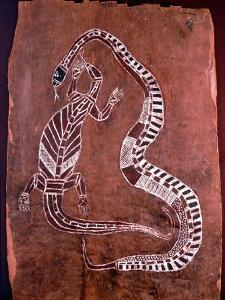 Aboriginal Bark Painting Depicting a Snake and a Lizard
