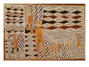 Aboriginal Bark Painting of Ritual Dance, from Yrrkala, Australia