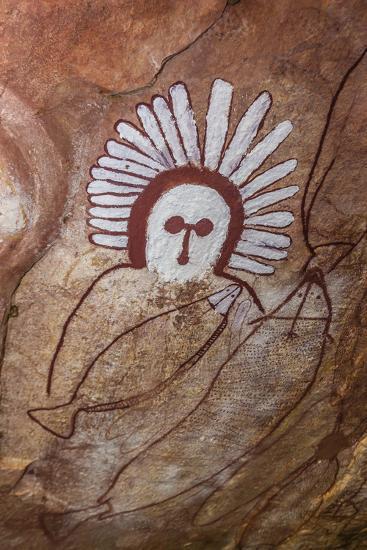 Aboriginal Wandjina Cave Artwork in Sandstone Caves at Raft Point, Kimberley, Western Australia-Michael Nolan-Photographic Print