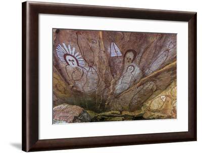 Aboriginal Wandjina Cave Artwork in Sandstone Caves at Raft Point, Kimberley, Western Australia-Michael Nolan-Framed Photographic Print