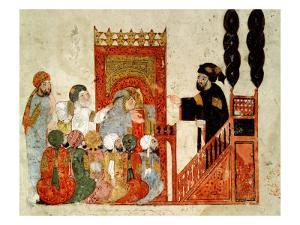 "Abou Zayd Preaching in the Mosque, from ""Al Maqamat"" by Al-Hariri"