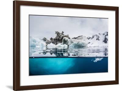 Above and Below Water View of Iceberg at Booth Island, Antarctica, Polar Regions-Michael Nolan-Framed Photographic Print