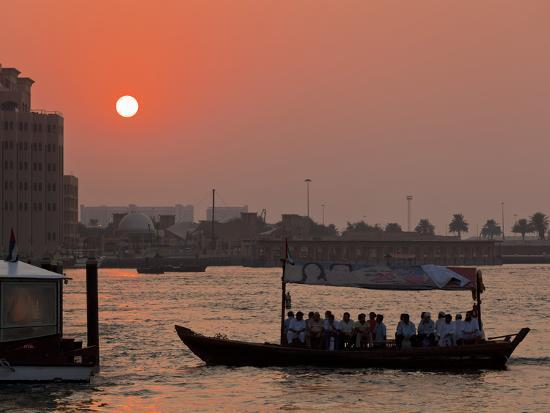 Abra Water Taxi, Dubai Creek at Sunset, Bur Dubai, Dubai, United Arab Emirates, Middle East-Neale Clark-Photographic Print