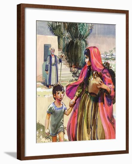 Abraham Bidding Farewell to Hagar and Ismael-Mike Lea-Framed Giclee Print