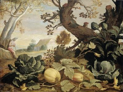 Landscape with Fruits and Vegetables in the Foreground, Abraham Bloemaert