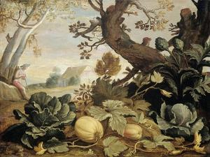 Landscape with Fruits and Vegetables in the Foreground, Abraham Bloemaert by Abraham Bloemaert