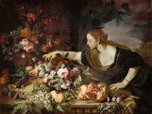 Woman Taking Fruit by Abraham Brueghel