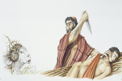 Abraham Is About to Sacrifice His Son Isaac When He Sees Ram in Thicket--Giclee Print