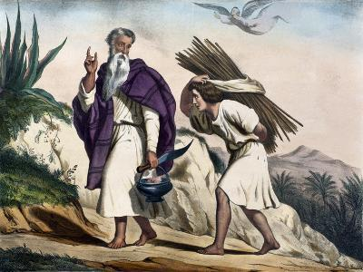 Abraham Leading His Son Isaac to Sacrifice from Old Testament, End of 19th Century--Giclee Print