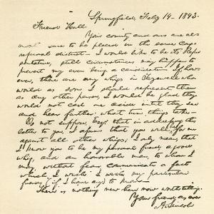 Letter from Abraham Lincoln to Alden Hall, Dated February 14, 1843 by Abraham Lincoln
