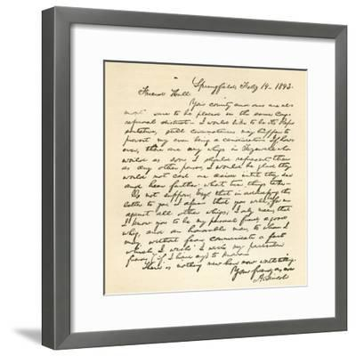 Letter from Abraham Lincoln to Alden Hall, Dated February 14, 1843