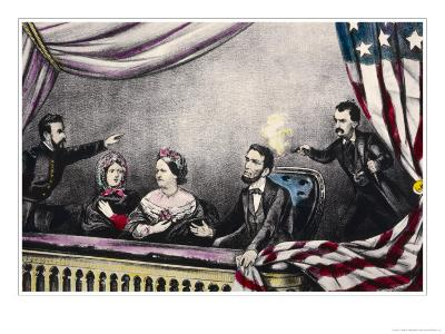 Abraham Lincoln President of the United States is Assassinated at the Theatre by John Wilkes Booth-Currier & Ives-Giclee Print