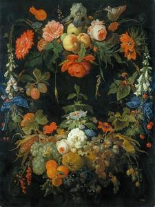 A Flower and Fruit Wreath by Abraham Mignon