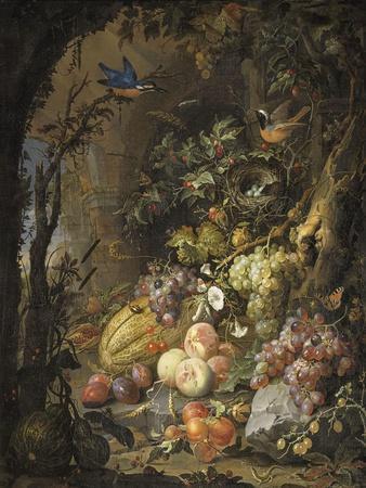 Fleurs, fruits, oiseaux et insectes dans un paysage avec ruines