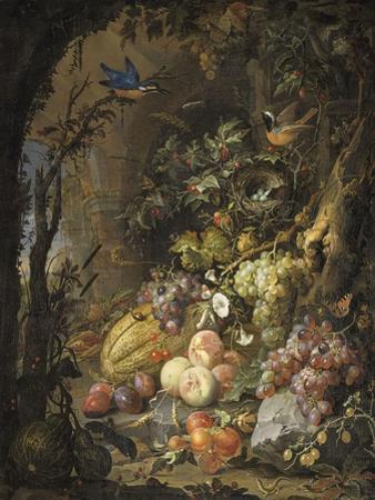 Fleurs, fruits, oiseaux et insectes dans un paysage avec ruines by Abraham Mignon