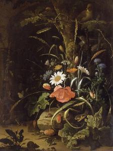 Fleurs, oiseaux, insectes et reptiles by Abraham Mignon