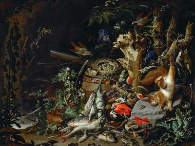 Le nid de pinsons-fish, reptiles and a dead squirrel among plants and trees; a nest of chaffinchs.