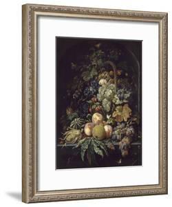 Panier de fleurs, fruits et insectes dans une niche by Abraham Mignon