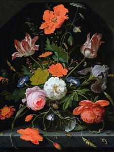 Still Life of Flowers in a Glass Vase by Abraham Mignon