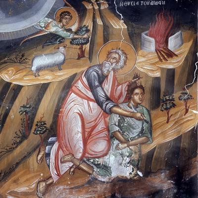 Abraham Offering Isaac for Sacrifice, Cretan School--Giclee Print