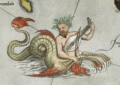a Merman, Playing an Instrument by Abraham Ortelius