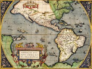 Americae Sive Novi Orbis Nova Descriptio 1592 by Abraham Ortelius