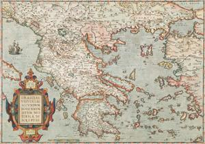 Graeciae Vniversae Secvndvm Hodiernvm Sitvm Neoterica Descriptio by Abraham Ortelius
