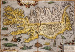 Hand Colored Map of Iceland, 1595 by Abraham Ortelius