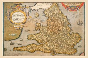 Map of England by Abraham Ortelius