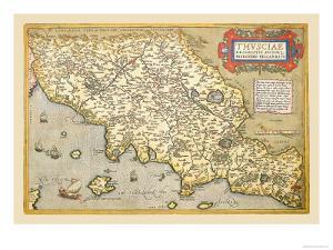 Map of Italian Coast above Rome by Abraham Ortelius