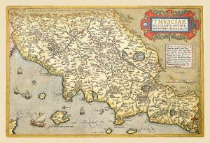 Map of Italian Coast above Rome by Abraham Ortelius