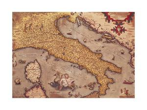 Map of Italy from Theatrum Orbis Terrarum by Abraham Ortelius