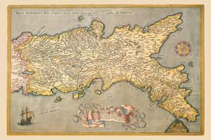 Map of Southern Italy by Abraham Ortelius